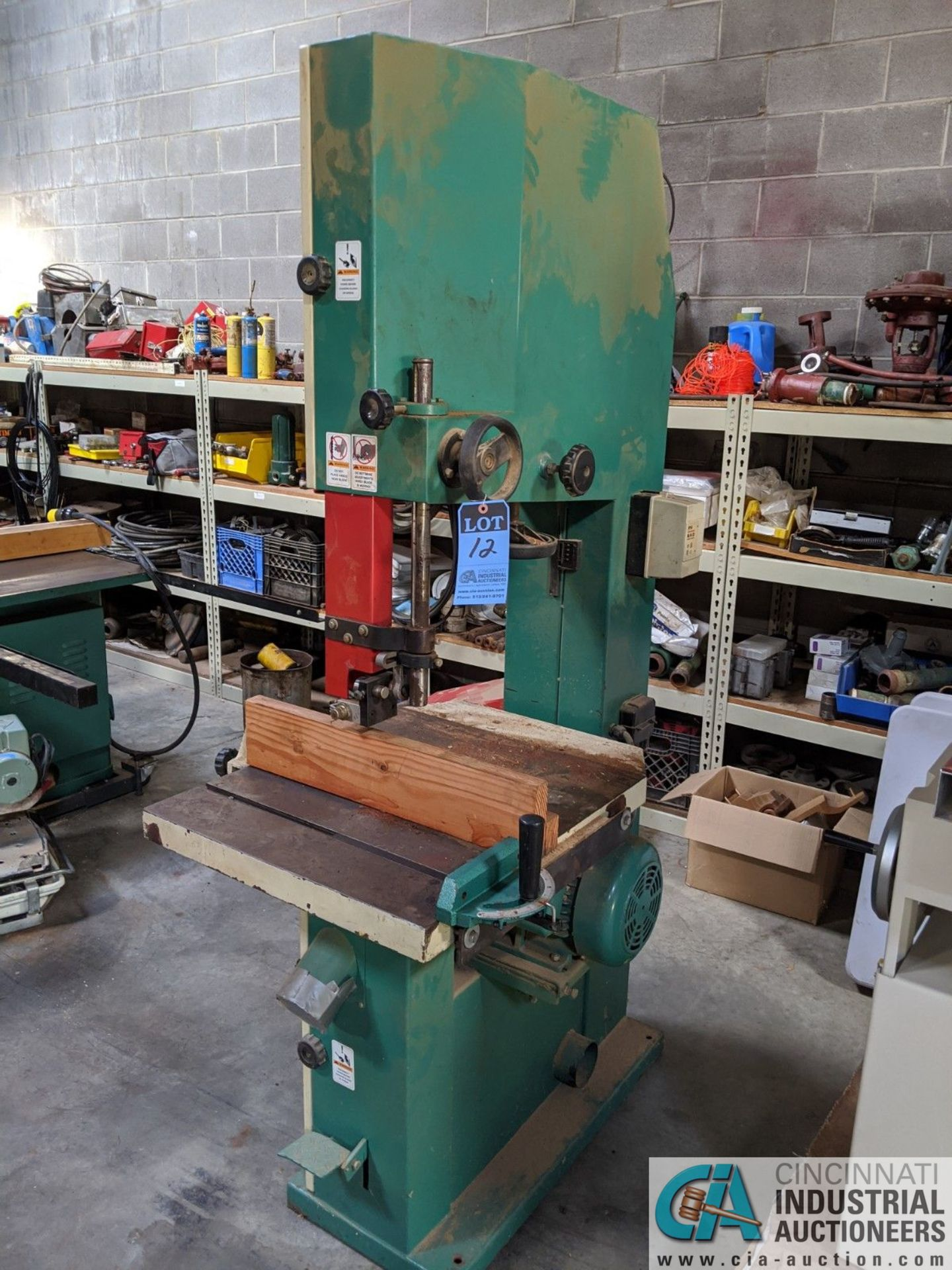 "12"" GRIZZLY MODEL G3619 VERTICAL BAND SAW; S/N 08146, 3-1/2"" X 23-3/4"" TABLE, 5-HP, SINGLE PHASE ("