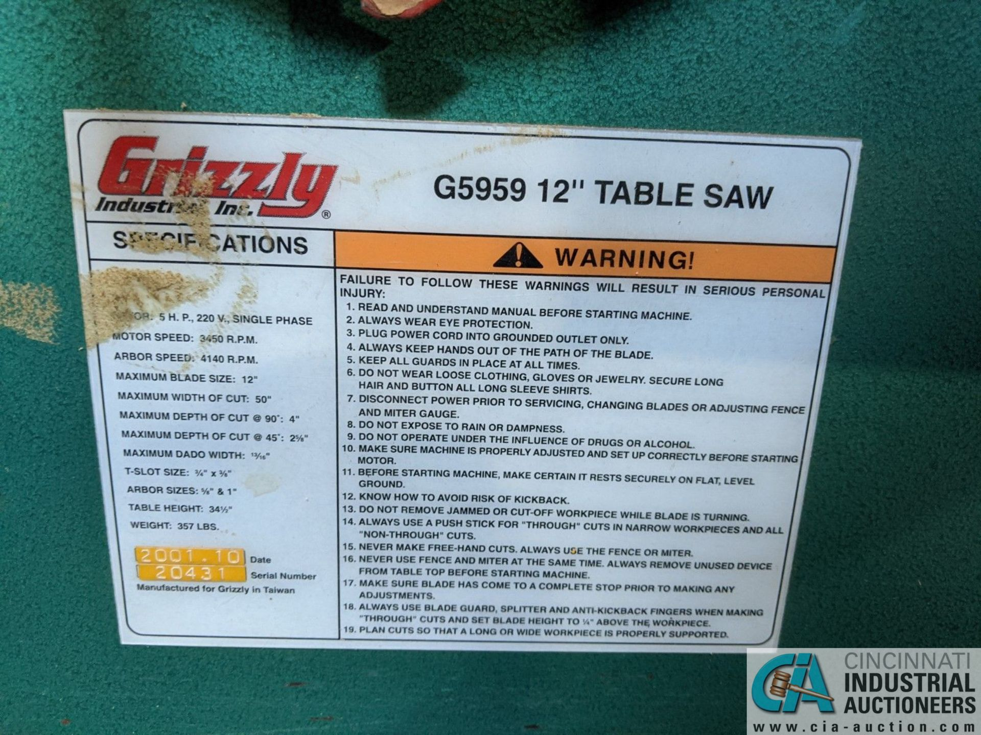 """12"""" GRIZZLY MODEL G5959 TABLE SAW; S/N 20431, 30"""" X 48"""" TABLE, RIP RENCE (8635 East Ave., Mentor, OH - Image 6 of 6"""