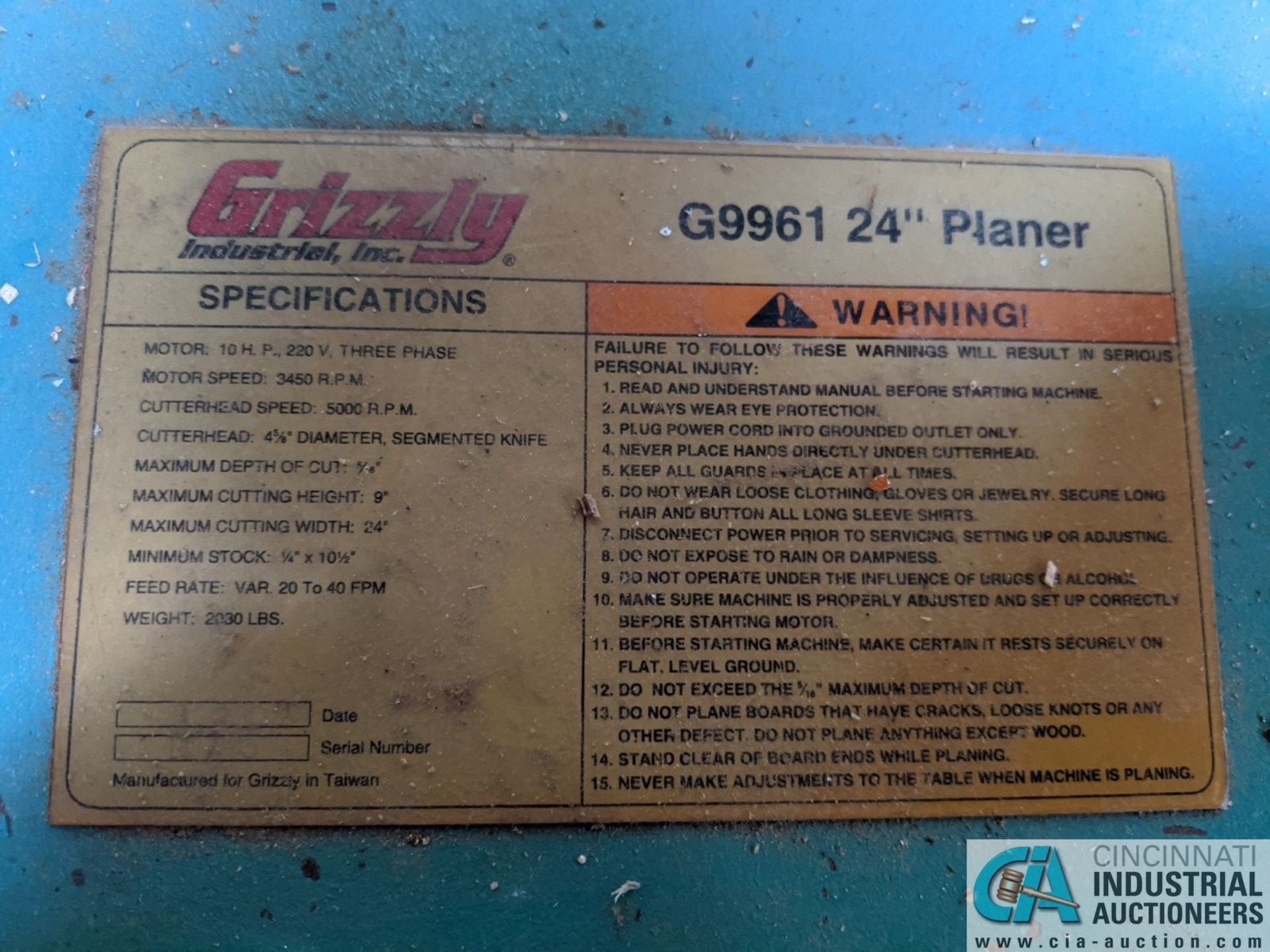 """24"""" GRIZZLY MODEL 24"""" EXTREME DUTY PLANER; SPIRAL CUTTER HEAD, 10-HP CUTTER HEAD, 20 - 40 FPM ( - Image 7 of 7"""