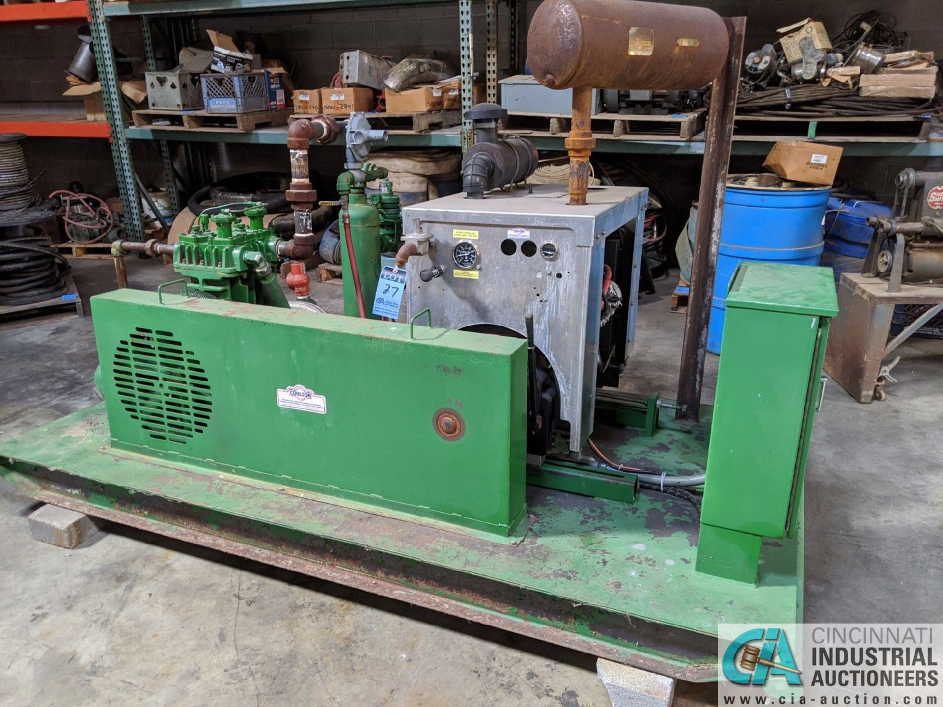 COULSON NATURAL GAS POWERED SKID MOUNTED NATURAL GAS COMPRESSOR; 400 PSIG, 2.5 L ENGINE (8635 East