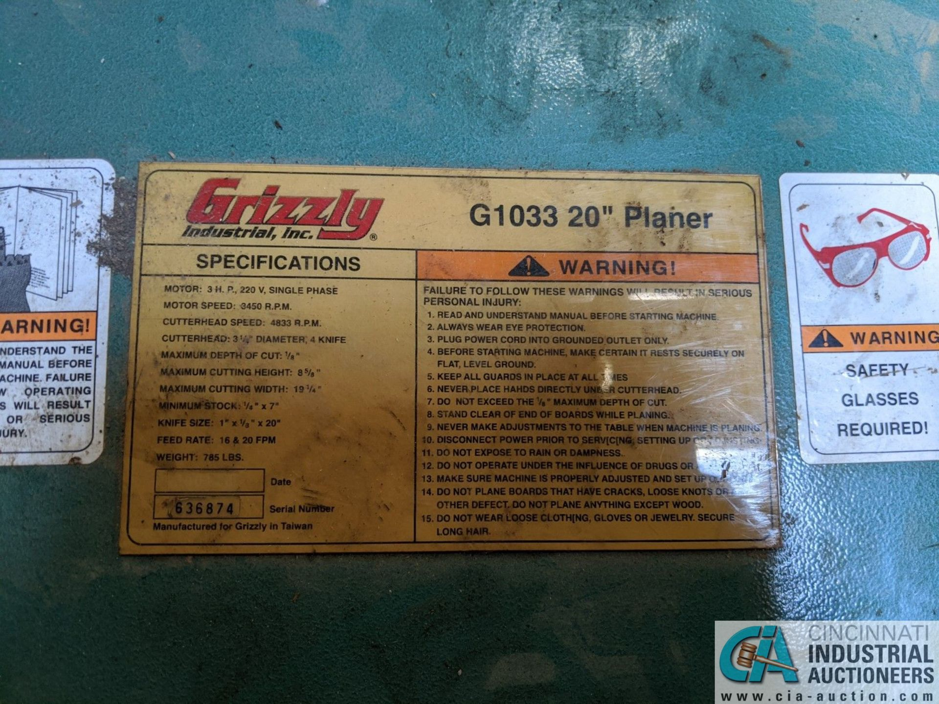 """20"""" GRIZZLY MODEL G1033 PLANER; S/N 636874, 16 - 20 FPM (8635 East Ave., Mentor, OH 44060 - John - Image 6 of 6"""