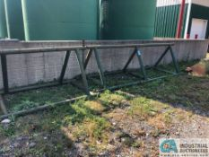 """(LOT) ASSORTED SIZE GREEN PIPE RACK; (1) 18' PYRAMID TYPE, (6) 18' SINGLE TREE TYPE, (6) 115"""" LONG"""
