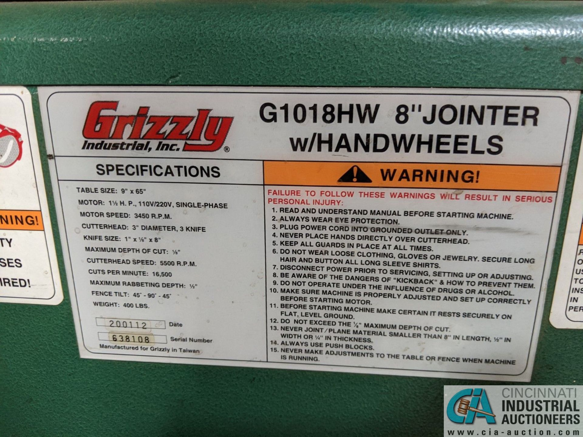 """8"""" GRIZZLY MODEL G1018HW JOINTER; S/N 6388108, 9"""" X 65"""" TABLE (8635 East Ave., Mentor, OH 44060 - - Image 7 of 7"""