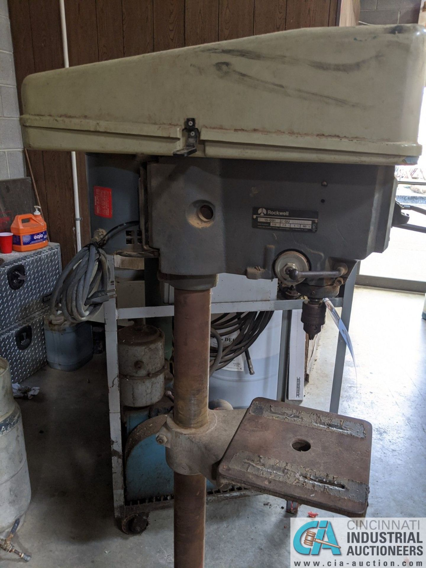 "15"" ROCKWELL MODEL 15-091 SINGLE SPINDLE FLOOR DRILL; 10"" X 10-1/2"" TABLE (8635 East Ave., Mentor, - Image 2 of 4"
