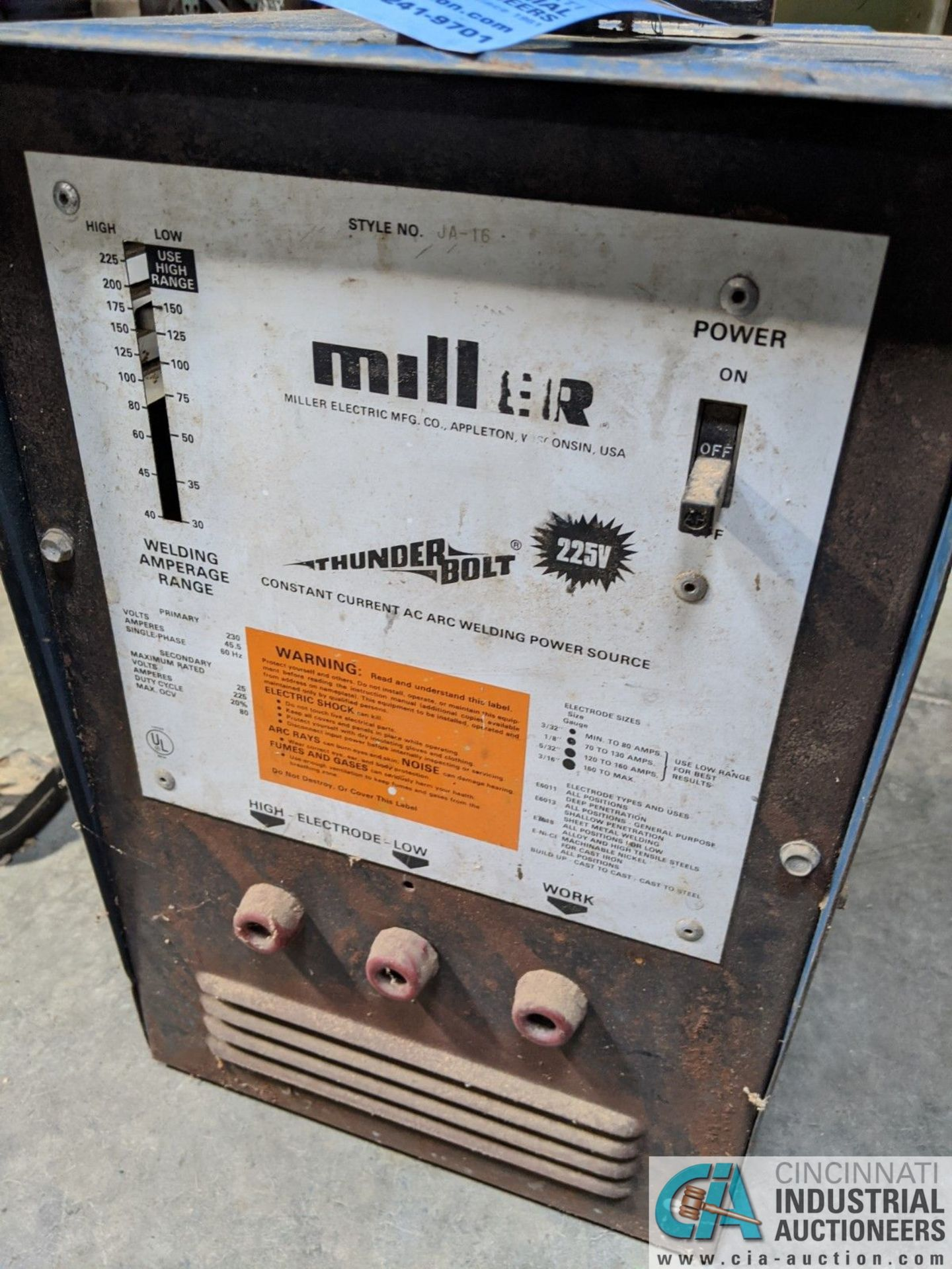 45 AMP MILLER THUNDERBOLT WELD POWER SOURCE (8635 East Ave., Mentor, OH 44060 - John Magnasum: 440- - Image 2 of 3