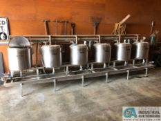 SIX-STATION CUSTOM BREW SYSTEMS MICRO BREWING SYSTEM W/ HEATERS; EACH BREW STATION IS S.S. OUTER &
