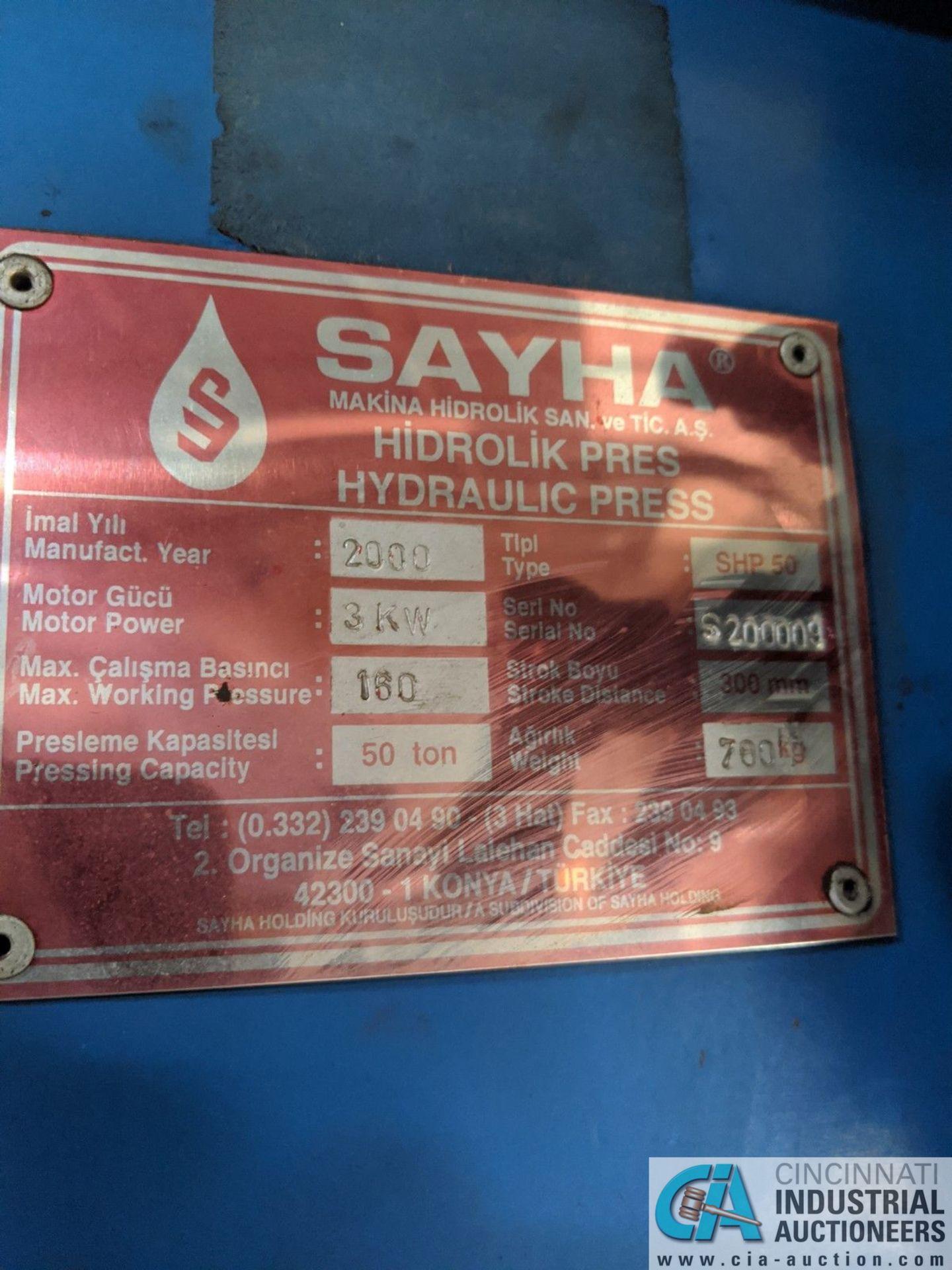 "50-TON SAYHA MODEL SHP-50 HYDRAULIC H-FRAME PRESS; S/N S200009, 300 MM STROKE, 3-KW MOTOR, 36"" - Image 4 of 5"