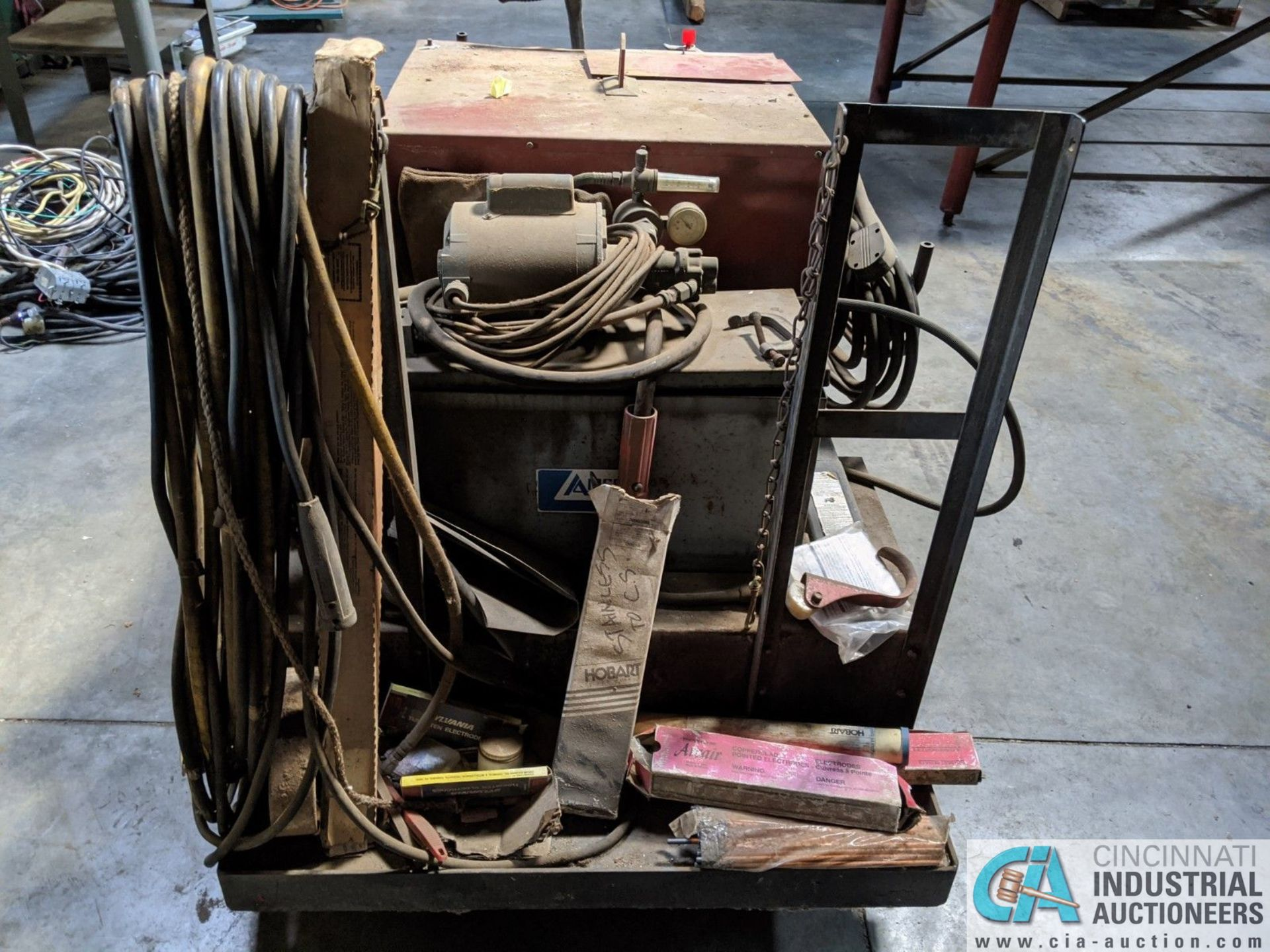 250 AMP LINCOLN MODEL TIG 250/250 WELDER; S/N 533770, MOUNTED ON CART W/ LEADS & AIRCO CHILLER (8635 - Image 3 of 5