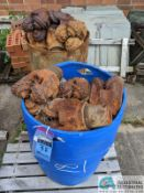 (LOT) USED OIL DRILL BITS ON (2) DRUMS & (2) STEEL CRATES W/ PIPE CAT-OFFS (8635 East Ave.,