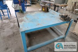 "60"" X 48"" HEAVY DUTY STEEL TABLE WITH 6"" AND 4"" VISES, AND MANUAL MULTI-PURPOSE BENDER"