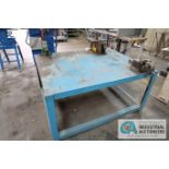"""60"""" X 48"""" HEAVY DUTY STEEL TABLE WITH 6"""" AND 4"""" VISES, AND MANUAL MULTI-PURPOSE BENDER"""