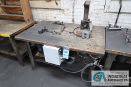 VOSS BUILT BENCH MOUNTED ELECTRIC BENDER WITH ELECTRIC NUT RUNNER MACHINE AND MAPLE TOP BENCH