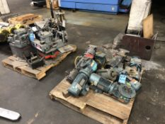 (LOT) 2-SKIDS MACHINE PARTS; (9) GEAR REDUCERS AND (3) ONE TON DANLY AIR PRESS