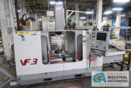 "HAAS MODEL VF3 CNC VERTICAL MACHINING CENTER; S/N 21302, 18"" X 38"" TABLE, 40 TAPER SPINDLE, 24"