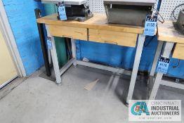 "**24"" X 48"" STEEL FRAME TWO-DRAWER MAPLE TOP WORKSTATION **DELAY REMOVAL - PICKUP 11-12-2020**"