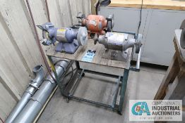 "6"" JET AND 6"" BALDOR BENCH MOUNTED DE GRINDERS WITH CART"