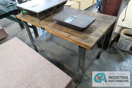 """**30"""" X 57"""" X 34"""" HIGH STEEL FRAME MAPLE TOP WORK BENCH **DELAY REMOVAL - PICKUP 11-12-2020**"""