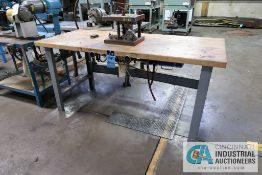 VOSS BUILT PNEUMATIC MAPLE TOP BENCH MOUNTED FORMING PRESS, ASSET # 250101, PALM CONTROLS **