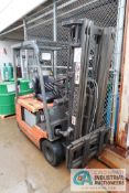 2,500 LB. TOYOTA MODEL 5FBE15 36 VOLT ELECTRIC SOLID TIRE THREE-STAGE MAST LIFT TRUCK; S/N 21329,
