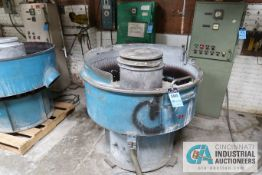 """44"""" DIAMETER SWECO MODEL FMD-10-2 VIBRATORY FINISHING BOWL; S/N 10FM-180-9F, WITH CONTROL CABINET"""