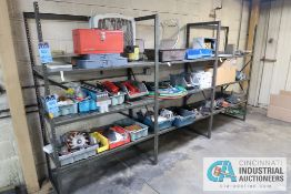 **(LOT) MISCELLANEOUS PARTS AND SUPPLIES ON (3) SECTIONS SHELVING **NO SHELVING**