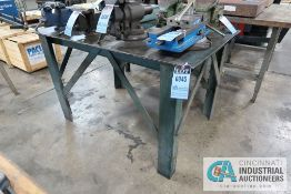 "**36"" X 54"" X 34"" HIGH HEAVY DUTY STEEL FRAME AND TOP PLATE WORK TABLE **DELAY REMOVAL - PICKUP 11-"