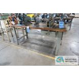 """**30"""" X 72"""" X 32"""" HIGH STEEL FRAME MAPLE TOP WORK BENCH **DELAY REMOVAL - PICKUP 11-12-2020**"""