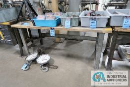 """**30"""" X 72"""" X 32"""" HIGH STEEL FRAME MAPLE TOP WORKBENCH **DELAY REMOVAL - PICKUP 11-12-2020**"""