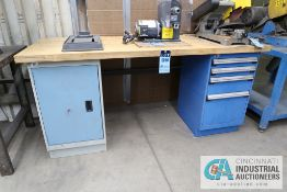 "**30"" X 72"" X 34"" HIGH ROUSSEAU FOUR-DRAWER AND CABINET MAPLE TOP WORK STATION **DELAY REMOVAL -"