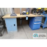 """**30"""" X 72"""" X 34"""" HIGH ROUSSEAU FOUR-DRAWER AND CABINET MAPLE TOP WORK STATION **DELAY REMOVAL -"""