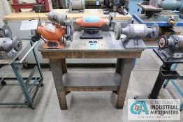"(1) 6"" BALDOR AND (2) 6"" CENTRAL MACHINERY BENCH MOUNTED DE GRINDERS WITH BENCH"