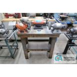 """(1) 6"""" BALDOR AND (2) 6"""" CENTRAL MACHINERY BENCH MOUNTED DE GRINDERS WITH BENCH"""