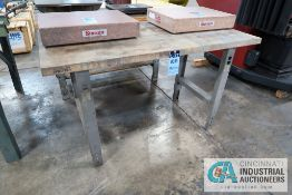 "**30"" X 60"" ADJUSTABLE HEIGHT STEEL FRAME MAPLE TOP BENCH **DELAY REMOVAL - PICKUP 11-12-2020**"