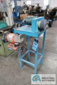 "2"" BELT SHOP BUILT HORIZONTAL STAND MOUNTED SANDER; ASSET # 400157, WITH 6"" CENTRAL MACHINERY DE"