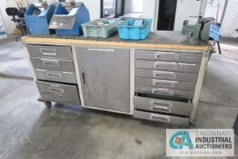 """20"""" X 72"""" SEVILLE 12-DRAWER PORTABLE MAPLE TOP WORKSTATION WITH 4"""" VISE"""
