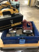 """(LOT) 4-1/2"""" CAPACITY CHICAGO ELECTRIC BANDSAW WITH 18 GAUGE ELECTRIC SHEAR AND ROTARY TOOL"""
