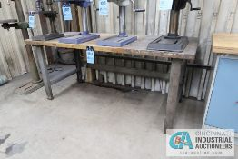 "**30"" X 72"" X 32"" HIGH STEEL FRAME MAPLE TOP WORK BENCH **DELAY REMOVAL - PICKUP 11-12-2020**"