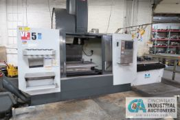 "HAAS MODEL VF5/50 CNC VERTICAL MACHINING CENTER; S/N 1078698, 24"" X 50"" TABLE, 50 TAPER SPINDLE,"