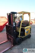 5,000 LB. CAPACITY HYSTER MODEL E50XM2-27 36 VOLT ELECTRIC THREE-STAGE MAST CUSHION TIRE LIFT TRUCK;
