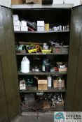 (LOT) MISCELLANEOUS SHOP SUPPLIES WITH TWO-DOOR STORAGE CABINET