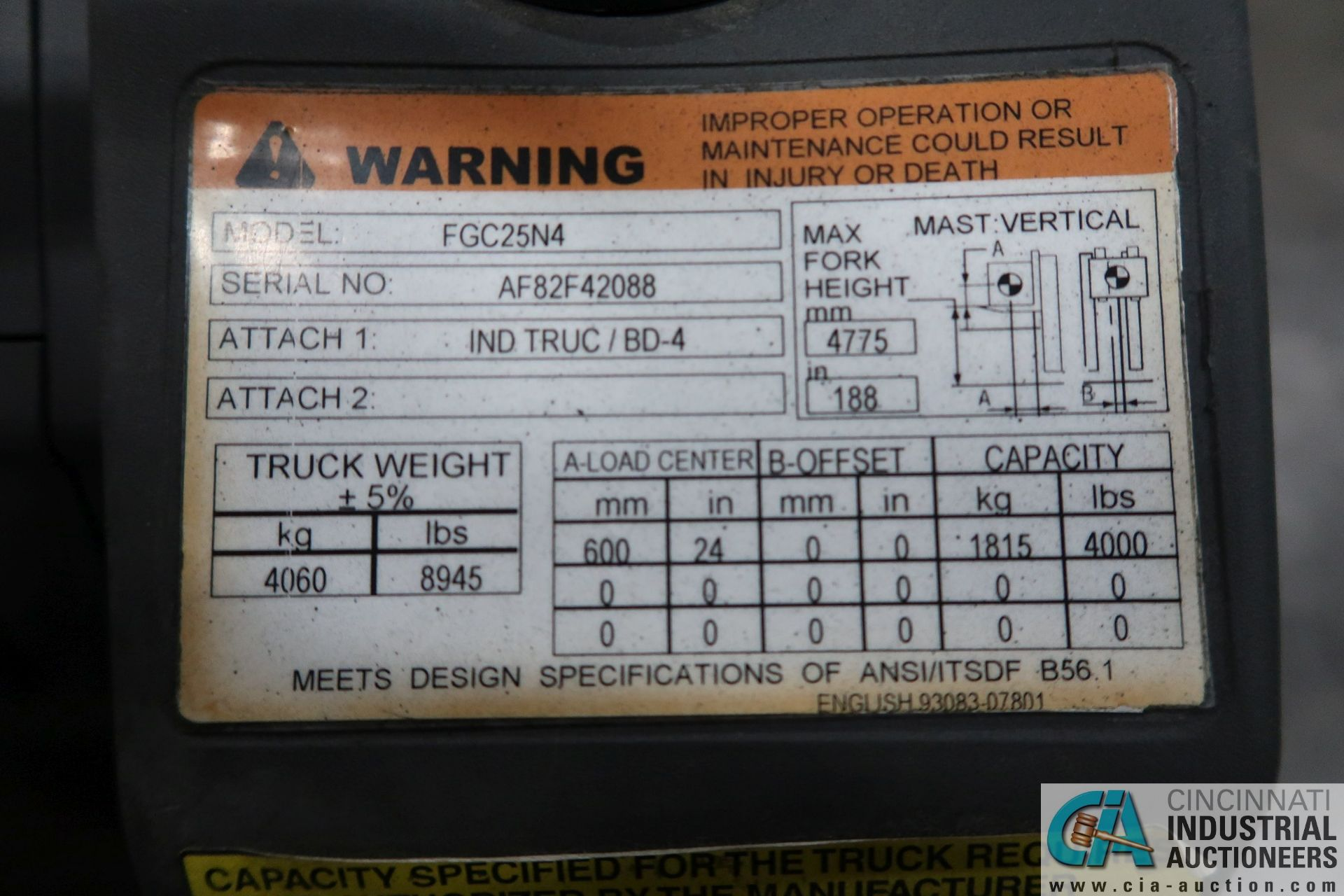 4,000 LB. MITSUBISHI MODEL FGC25N LP GAS SOLID PNEUMATIC TIRE LIFT TRUCK; S/N AF82F42088, 3-STAGE - Image 7 of 8