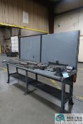"""**30""""X 96"""" 33"""" HIGH STEEL WORKBENCH WITH VISE **DELAYED REMOVAL - PICKUP 12-9-2020**"""