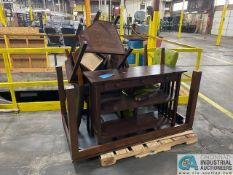 """60"""" X 36"""" WOOD TABLE, END TABLES AND CHAIRS"""