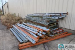 """(LOT) MISCELLANEOUS DISASSEMBLED PALLET RACK INCLUDING UPRIGHTS TO 108"""" X 64"""" AND CROSSBEAMS TO"""
