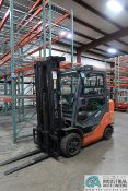 "6,000 LB. TOYOTA MODEL 8FGC30 LP GAS CUSHION TIRE LIFT TRUCK; S/N 62260, 3-STAGE MAST, 87"" MAST"
