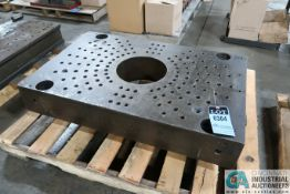 """25-5/8"""" X 39-3/4"""" X 6-1/4"""" THICK DRILLED AND TAPPED PRESS BED, 10-1/4"""" DIAMETER CENTER HOLE"""