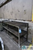 """24"""" X 96"""" X 42"""" HIGH HEAVY DUTY MULTI-LEVEL WELDED STEEL RACK WITH 12-DRAWER COUNTER HEIGHT MAPLE"""