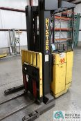 4,000 LB. HYSTER MODEL N4035 STAND-UP 36 VOLT ELECTRIC THREE-STAGE MAST STRADDLE LIFT TRUCK; S/N