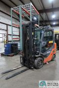 "6,000 LB. TOYOTA MODEL 8FGC30 LP GAS CUSHION TIRE LIFT TRUCK; S/N 19441, 3-STAGE MAST, 87"" MAST"