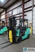 4,000 LB. MITSUBISHI MODEL FGC25N LP GAS SOLID PNEUMATIC TIRE LIFT TRUCK; S/N AF82F42088, 3-STAGE